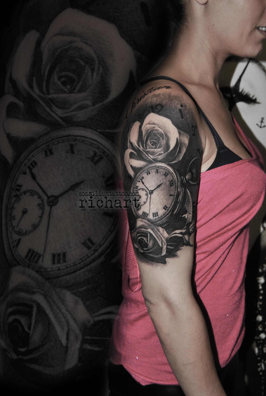 Consilium Tattoo Tattoo Reloj Con Rosas En Consiliumtattoo